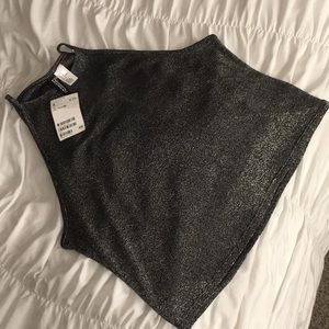 Black/grey/silver H&M crop top